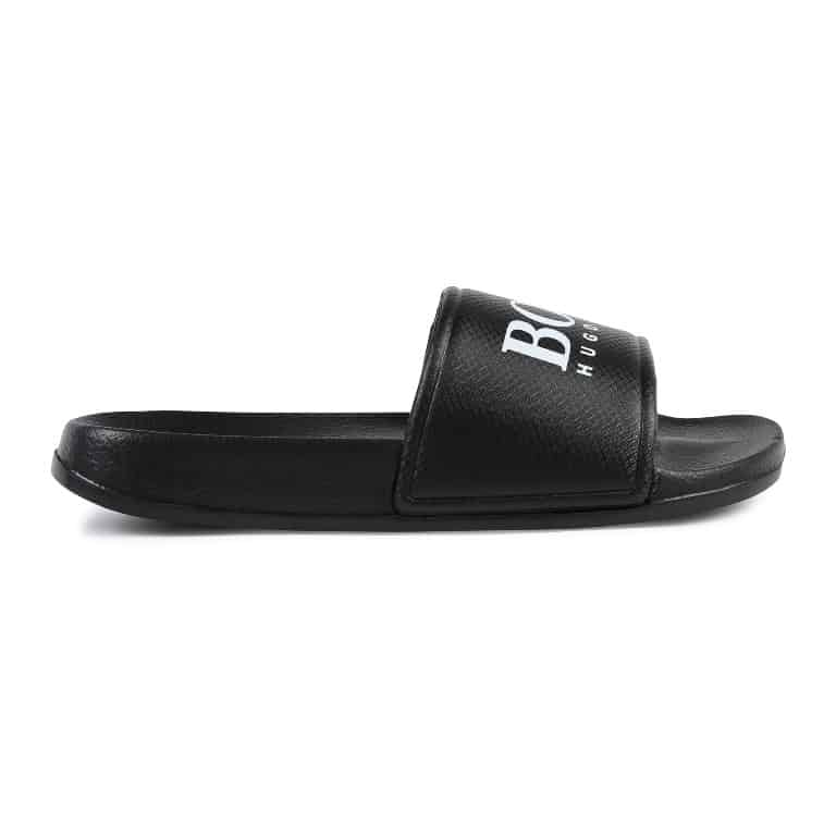 Hugo Boss Jongens Slippers Hugo Boss zwarte slippers jongens J29173-09B zomercollectie 2019 - 2