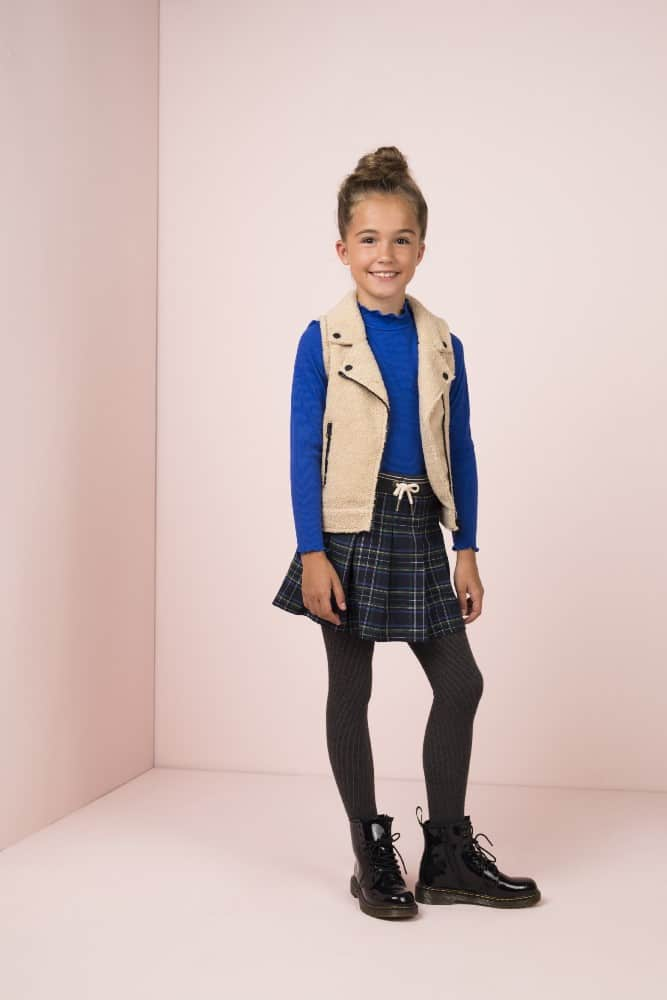 Like Flo Meisjes Jurken & Rokken Like FLo girls donkerblauwe geruite rok skirt navy 5720-190 wintercollectie 2019 - 3